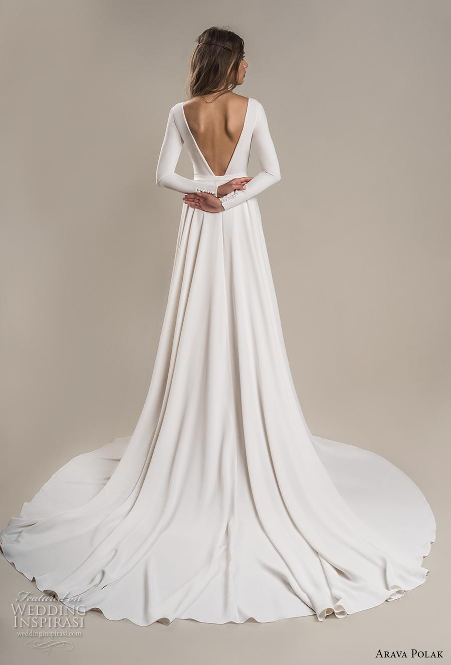 arava polak 2019 bridal long sleeves deep v neck simple minimalist slit skirt sexy modern a line wedding dress backless low v back chapel train (2) bv
