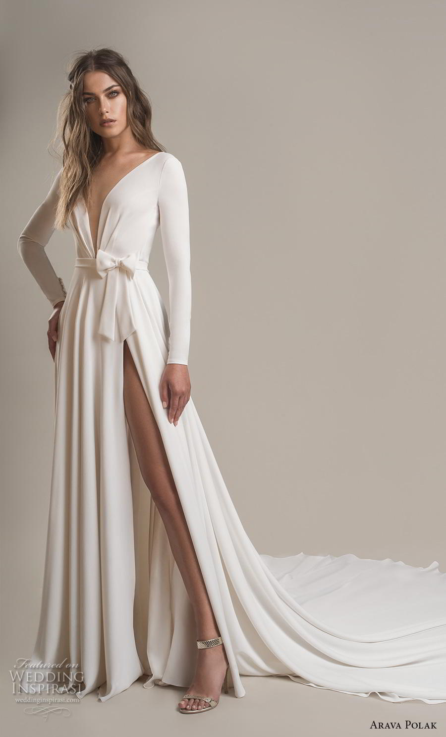 arava polak 2019 bridal long sleeves deep v neck simple minimalist slit skirt sexy modern a  line wedding dress backless low v back chapel train (2) mv
