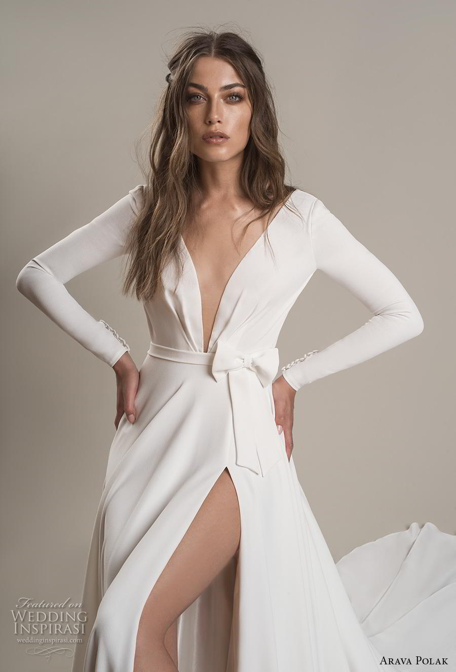 arava polak 2019 bridal long sleeves deep v neck simple minimalist slit skirt sexy modern a line wedding dress backless low v back chapel train (2) zv