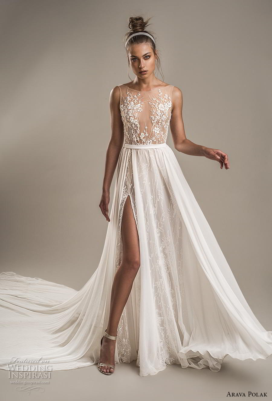arava polak 2019 bridal sleeveless bateau neckline heavily embellished bodice slit skirt romantic soft a line wedding dress backless v back chapel train (5) mv