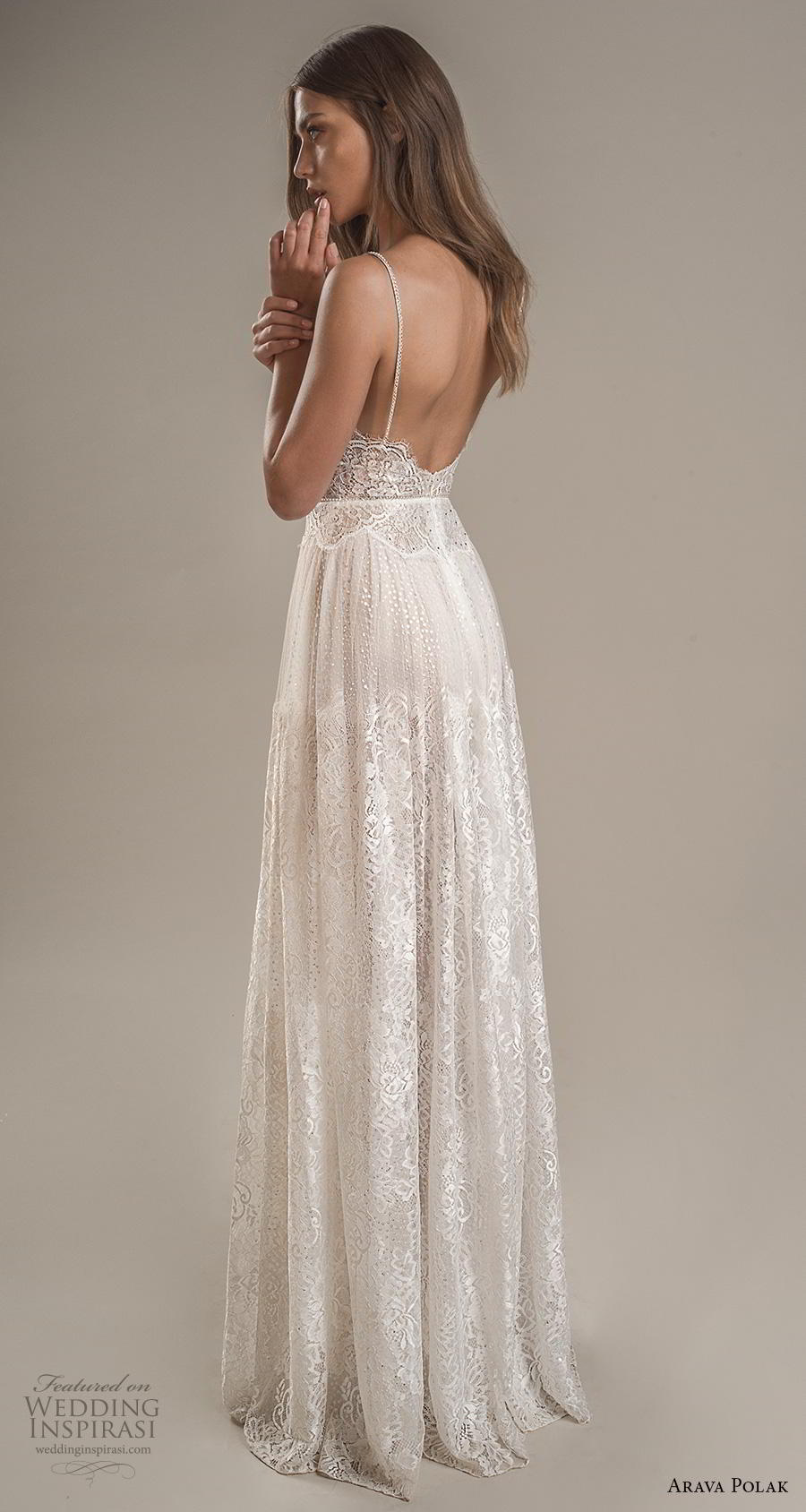 arava polak 2019 bridal sleeveless spaghetti strap deep sweetheart neckline full embellishment romantic bohemian soft a line wedding dress backless low scoop back sweep train (6) bv