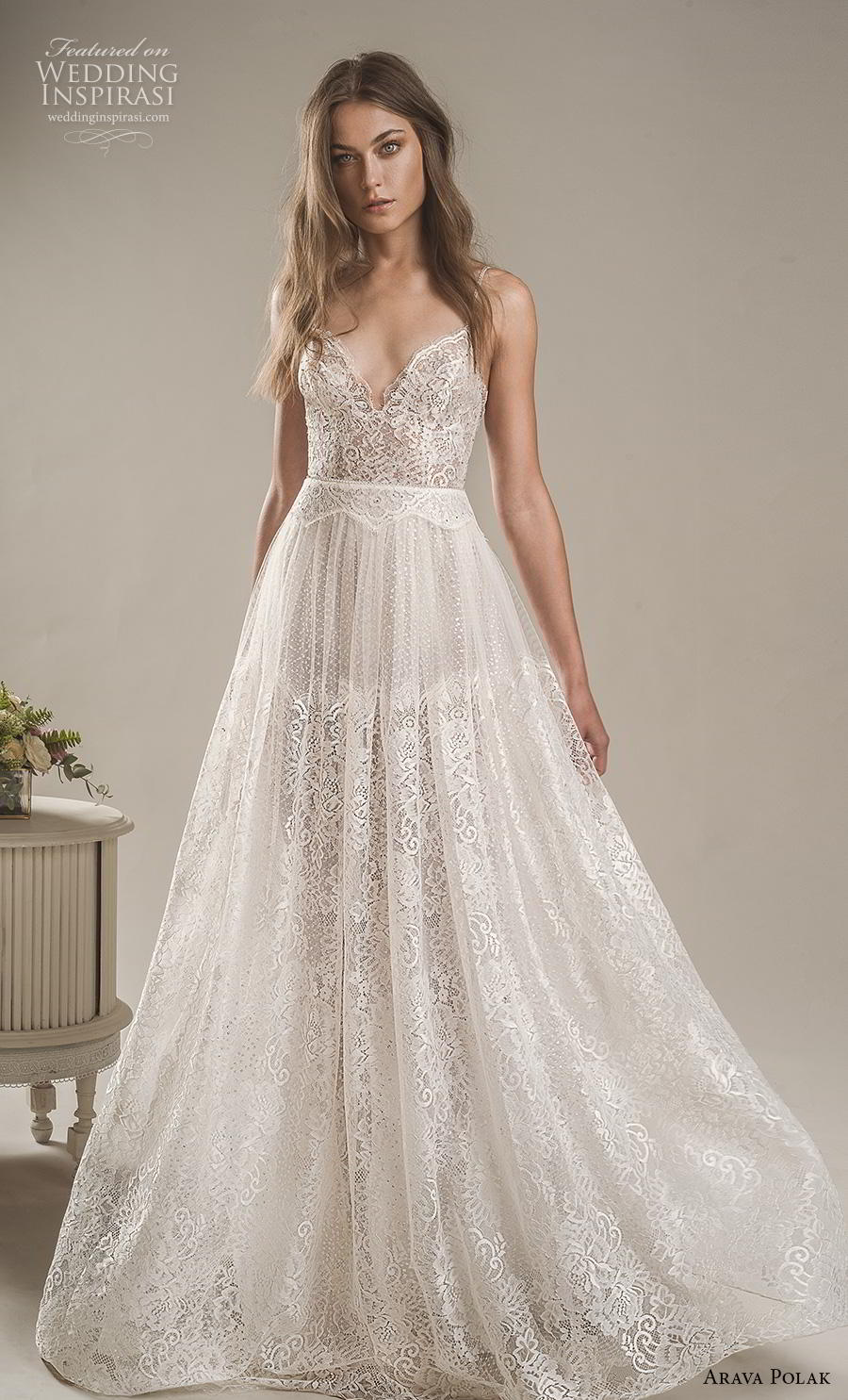 arava polak 2019 bridal sleeveless spaghetti strap deep sweetheart neckline full embellishment romantic bohemian soft a line wedding dress backless low scoop back sweep train (6) mv