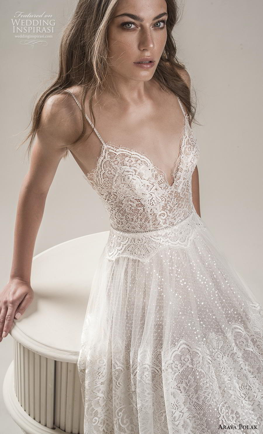 arava polak 2019 bridal sleeveless spaghetti strap deep sweetheart neckline full embellishment romantic bohemian soft a  line wedding dress backless low scoop back sweep train (6) zv