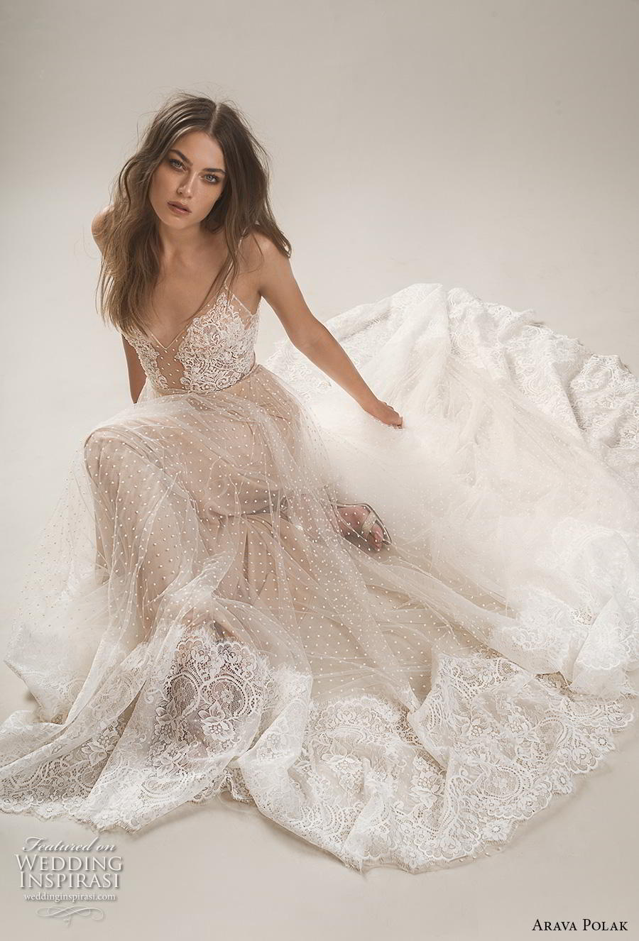 arava polak 2019 bridal sleeveless spaghetti strap deep sweetheart neckline heavily embellished bodice romantic a line wedding dress backless chapel train (1) mv