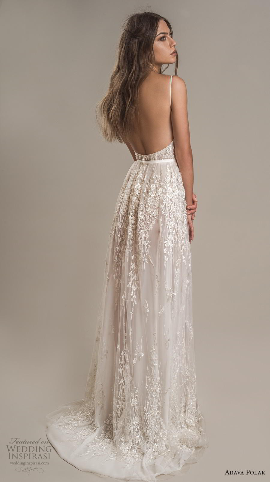 arava polak 2019 bridal sleeveless spaghetti strap sweetheart neckline full embellishment slit skirt romantic a line wedding dress backless low back sweep train (9) bv