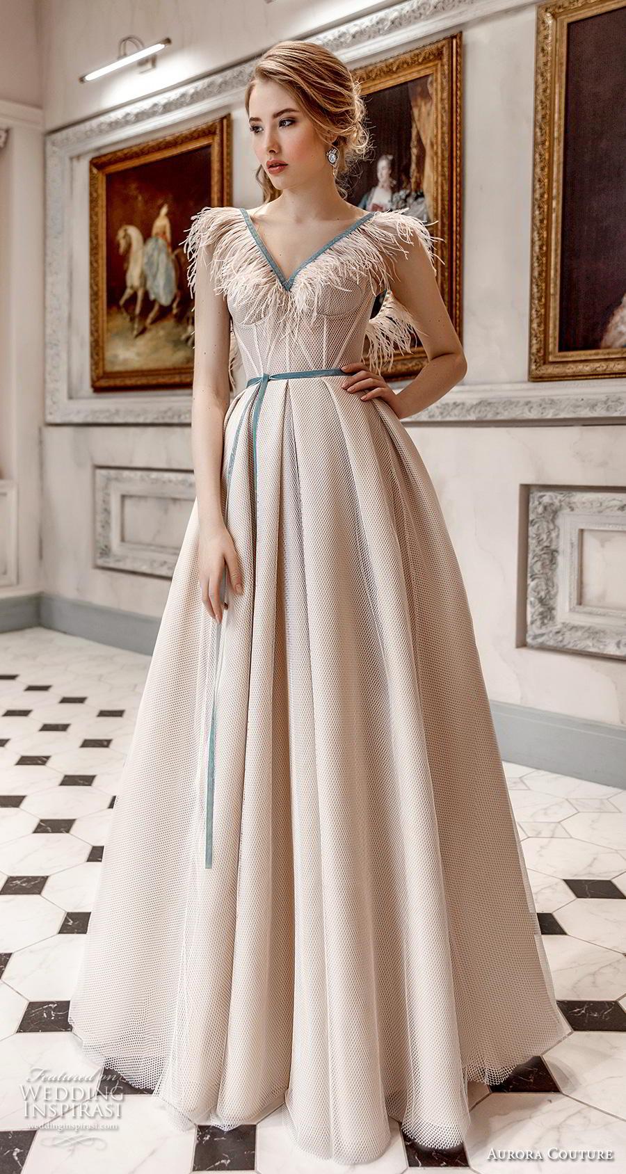aurora couture 2019 bridal cap sleeves fringe v neck bustier simple romantic ivory a  line wedding dress (16) mv