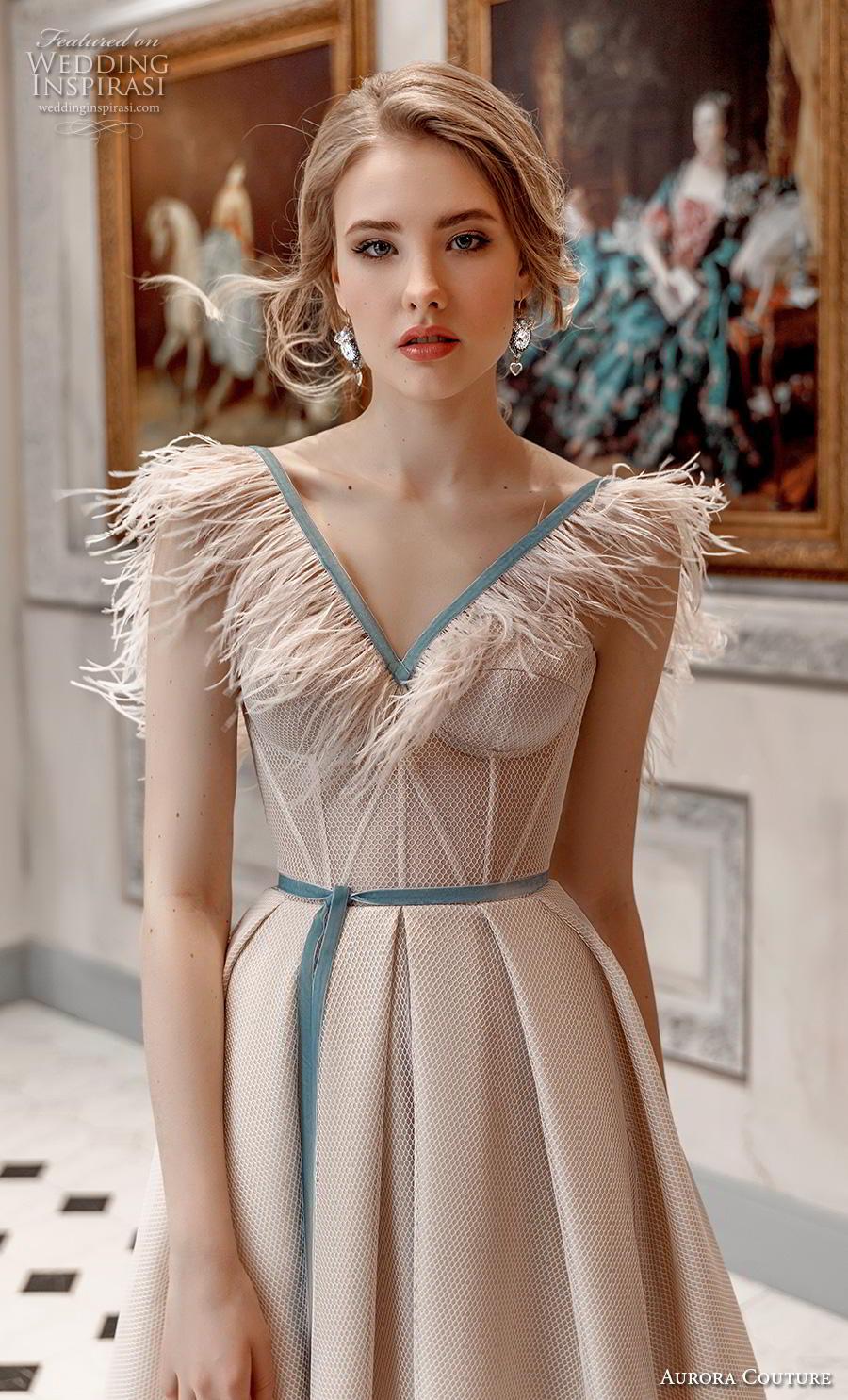 aurora couture 2019 bridal cap sleeves fringe v neck bustier simple romantic ivory a  line wedding dress (16) zv