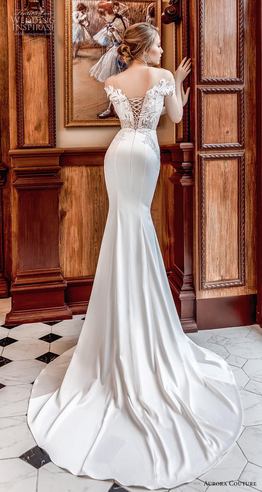 aurora couture 2019 bridal cap sleeves off the shoulder v neck heavily embellished bodice elegant sheath wedding dress corset back medium train (15) bv
