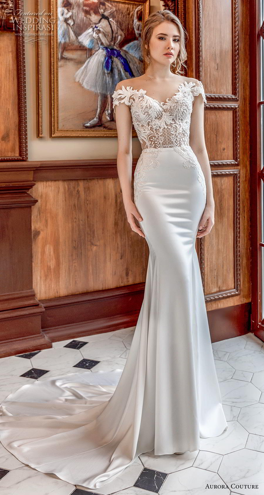 aurora couture 2019 bridal cap sleeves off the shoulder v neck heavily embellished bodice elegant sheath wedding dress corset back medium train (15) mv