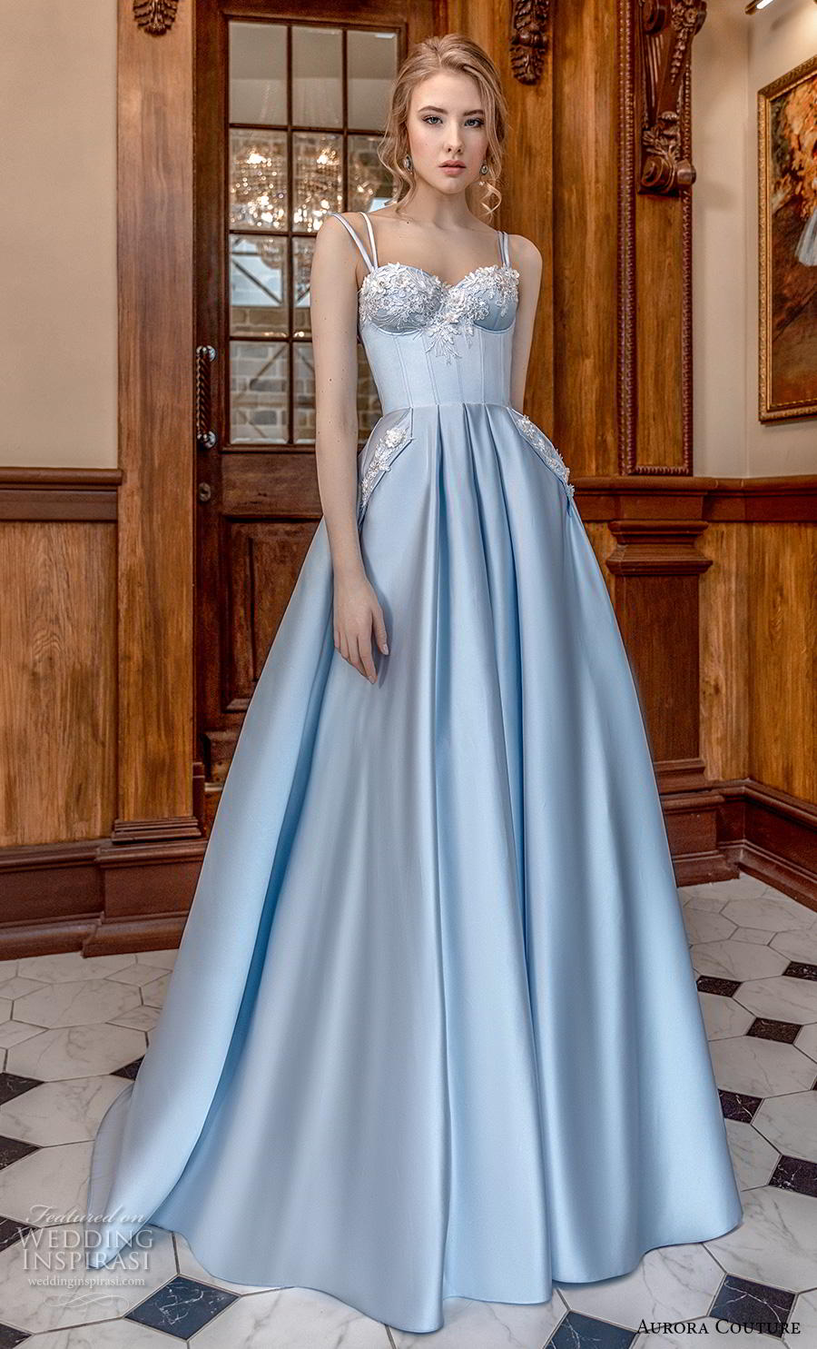 aurora couture 2019 bridal double strap sweetheart neckline heavily embellished bodice bustier blue ball gown a  line wedding dress corset back sweep train (17) mv