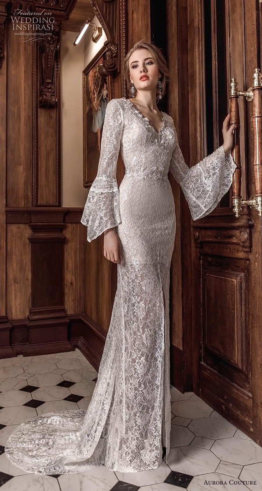 aurora couture 2019 bridal long lantern sleeves v neck full embellishment elegant sheath wedding dress v back sweep train (9) mv