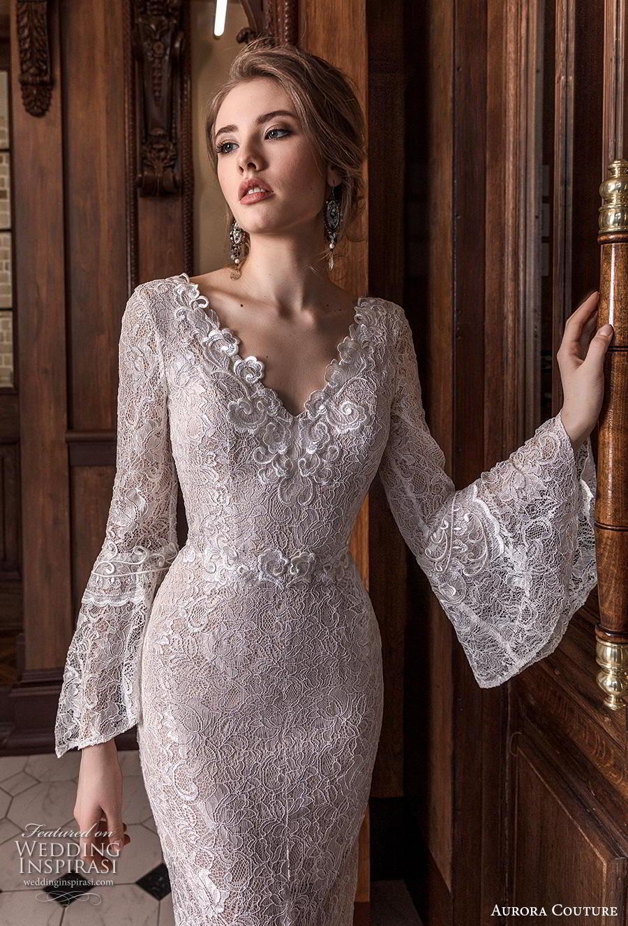 aurora couture 2019 bridal long lantern sleeves v neck full embellishment elegant sheath wedding dress v back sweep train (9) zv
