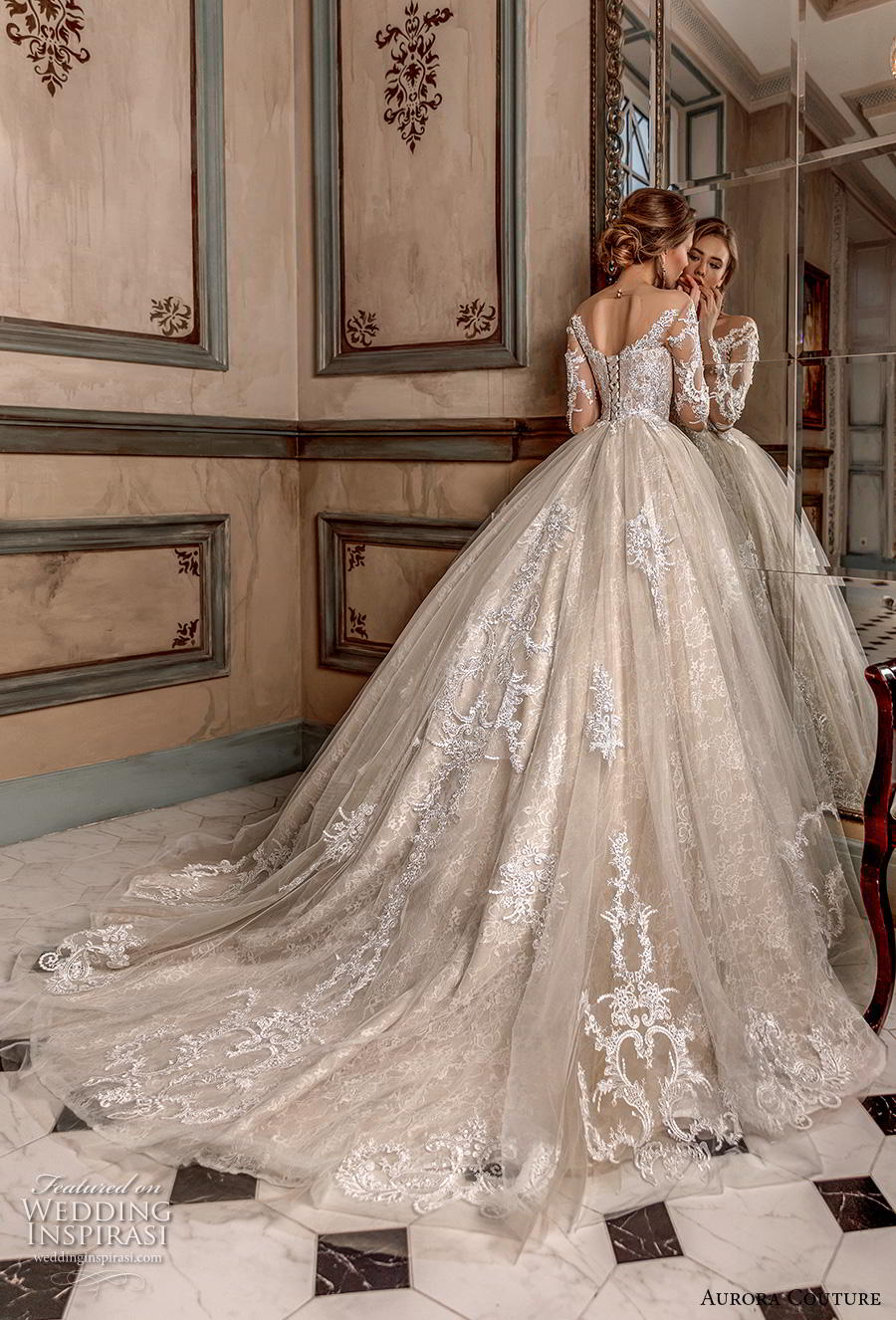aurora couture 2019 bridal long sleeves illiusion off the shoulder sweetheart neckline full embellishment princess ball gown a  line wedding dress mid back chapel train (5) bv