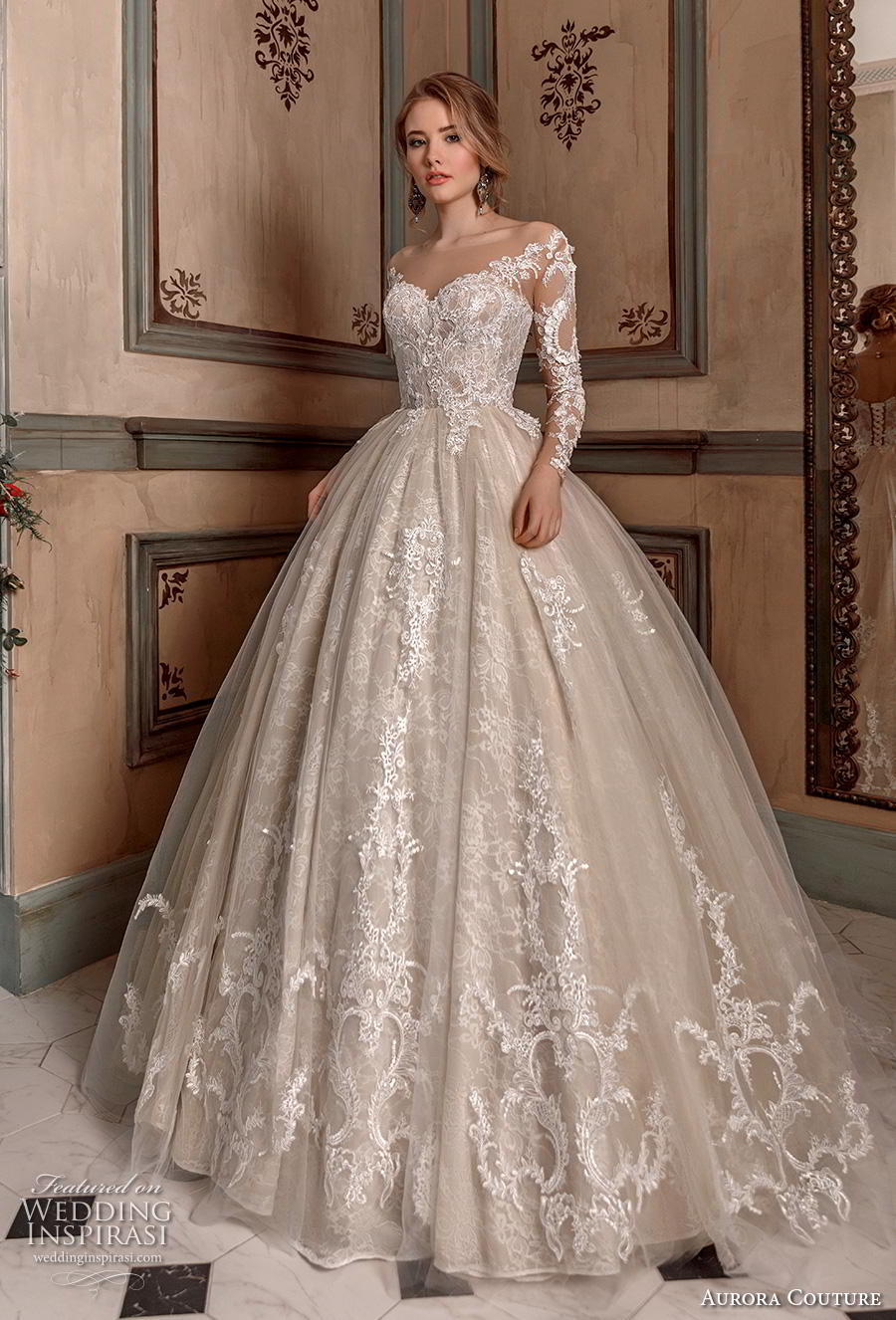 aurora couture 2019 bridal long sleeves illiusion off the shoulder sweetheart neckline full embellishment princess ball gown a  line wedding dress mid back chapel train (5) mv