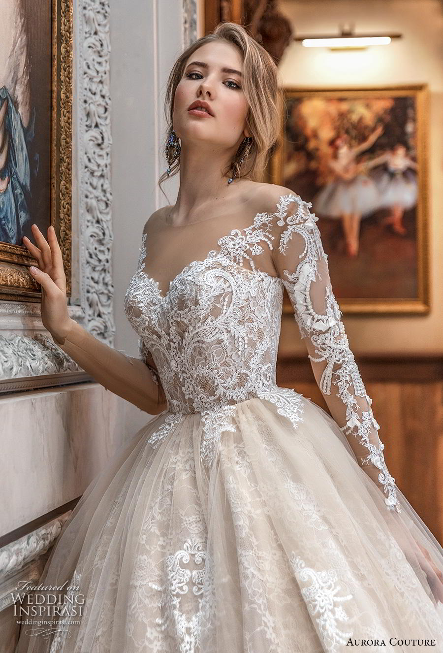 aurora couture 2019 bridal long sleeves illiusion off the shoulder sweetheart neckline full embellishment princess ball gown a  line wedding dress mid back chapel train (5) zv