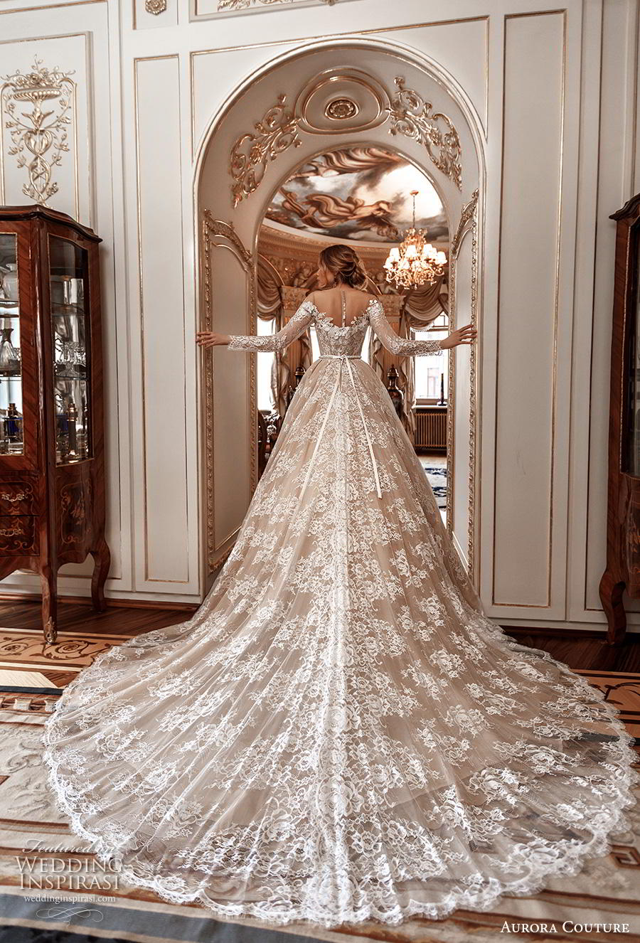 aurora couture 2019 bridal long sleeves illusion off the shoulder neckline full embellishment romantic princess ball gown a  line wedding dress mid back royal train (1) bv