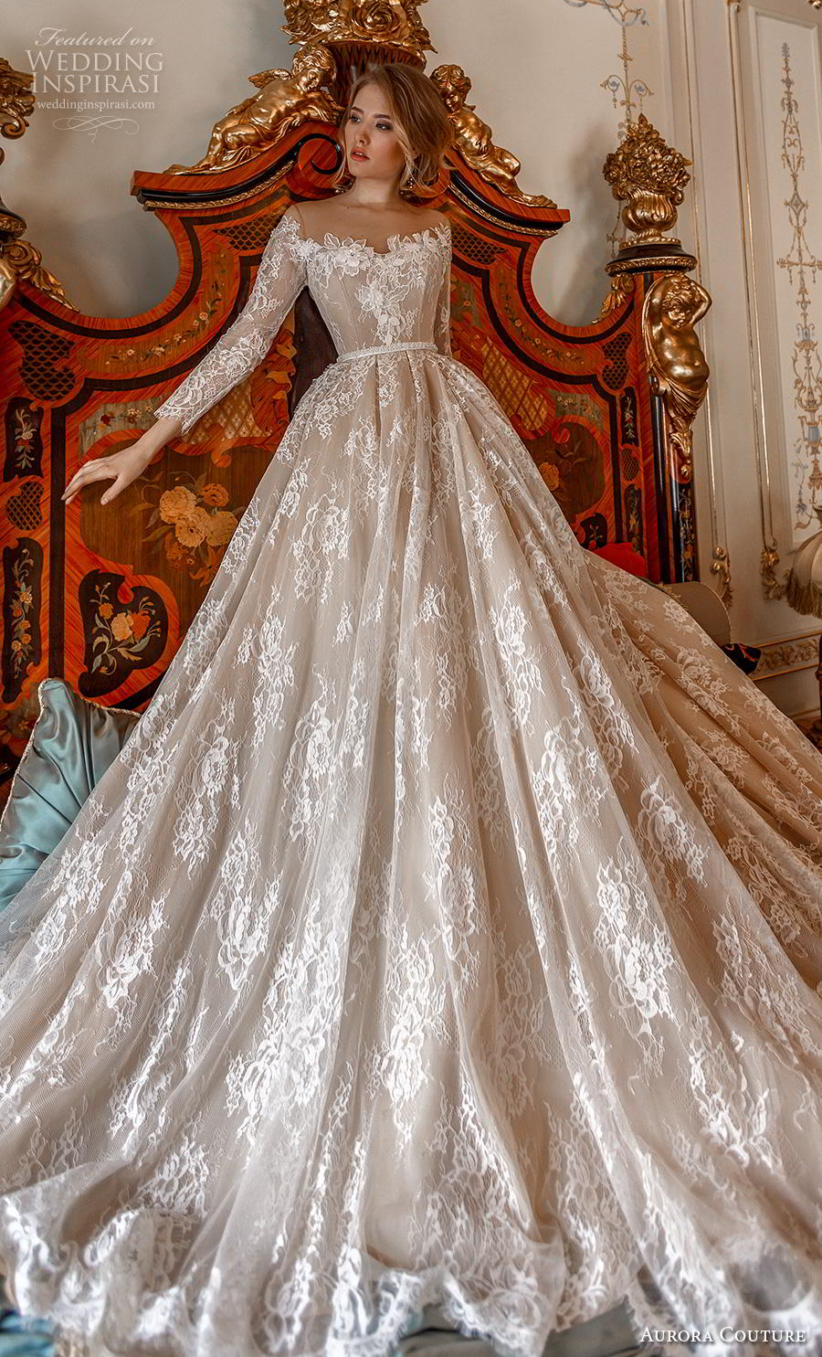 aurora couture 2019 bridal long sleeves illusion off the shoulder neckline full embellishment romantic princess ball gown a  line wedding dress mid back royal train (1) mv