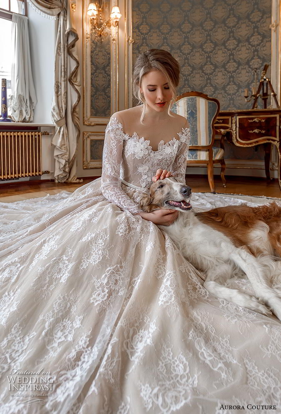 aurora couture 2019 bridal long sleeves illusion off the shoulder neckline full embellishment romantic princess ball gown a  line wedding dress mid back royal train (1) zv