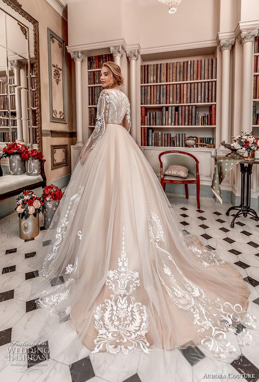 aurora couture 2019 bridal long sleeves jewel slit neckline heavily embellished bodice hem princess blush ball gown a  line wedding dress covered back chapel train (16) bv