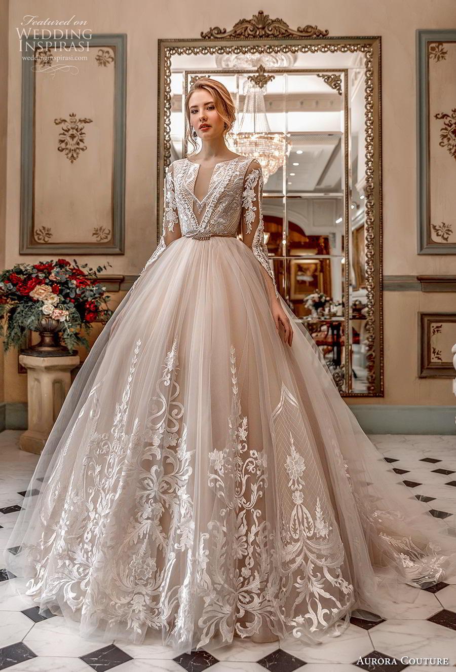aurora couture 2019 bridal long sleeves jewel slit neckline heavily embellished bodice hem princess blush ball gown a  line wedding dress covered back chapel train (16) mv
