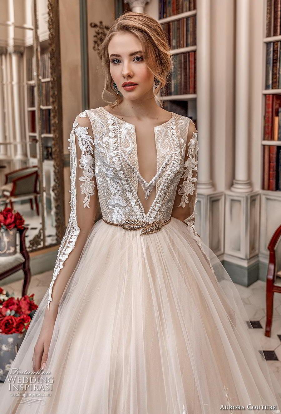 aurora couture 2019 bridal long sleeves jewel slit neckline heavily embellished bodice hem princess blush ball gown a  line wedding dress covered back chapel train (16) zv
