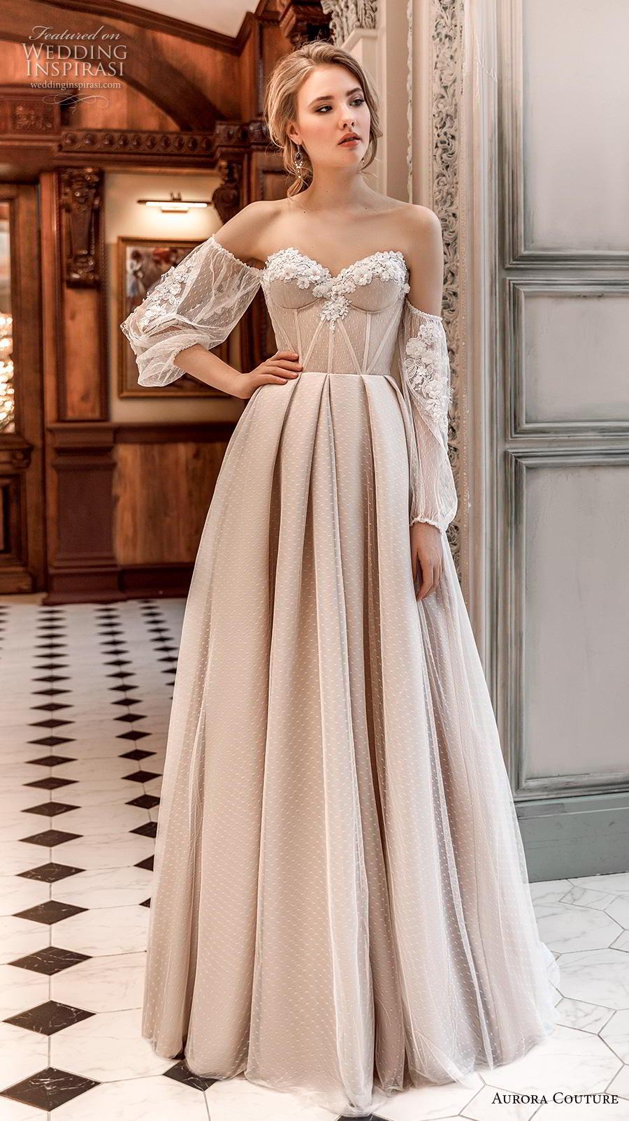 aurora couture 2019 bridal off the shoulder bishop sleeves strapless sweetheart neckline lightly embellished bodice bustier simple a  line wedding dress sweep train (6) mv