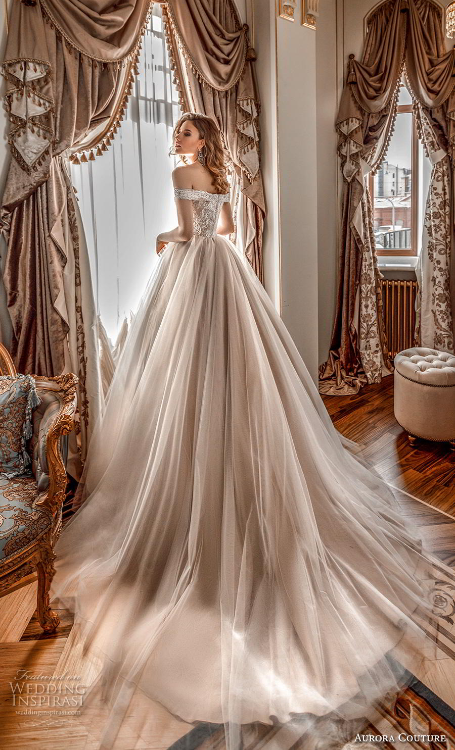 aurora couture 2019 bridal off the shoulder sweetheart neckline heavily embellished bodice romantic a  line wedding dress mid back chapel train (3) bv