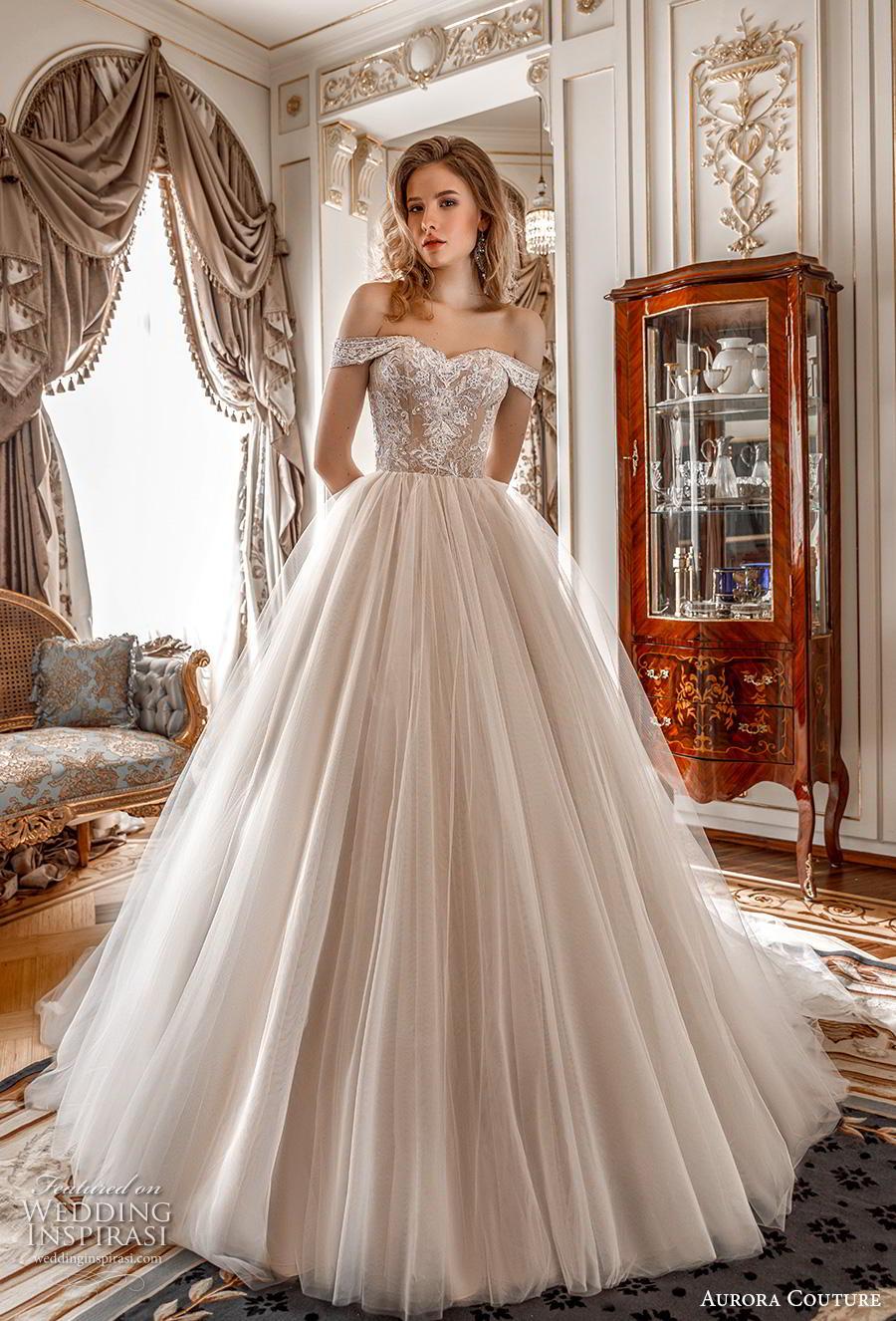 aurora couture 2019 bridal off the shoulder sweetheart neckline heavily embellished bodice romantic a  line wedding dress mid back chapel train (3) mv