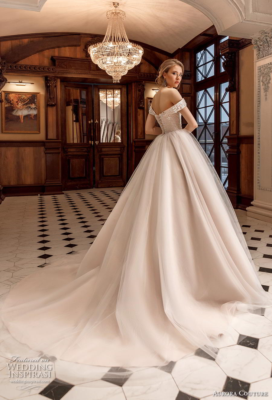 aurora couture 2019 bridal off the shoulder sweetheart neckline heavily embellished bodice romantic a  line wedding dress mid back chapel train (4) bv