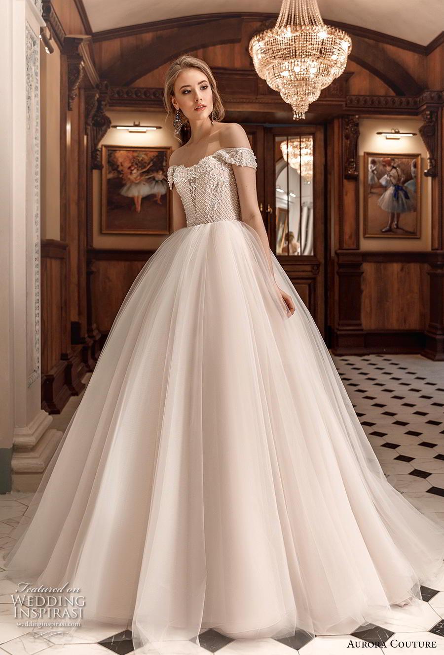 aurora couture 2019 bridal off the shoulder sweetheart neckline heavily embellished bodice romantic a  line wedding dress mid back chapel train (4) mv