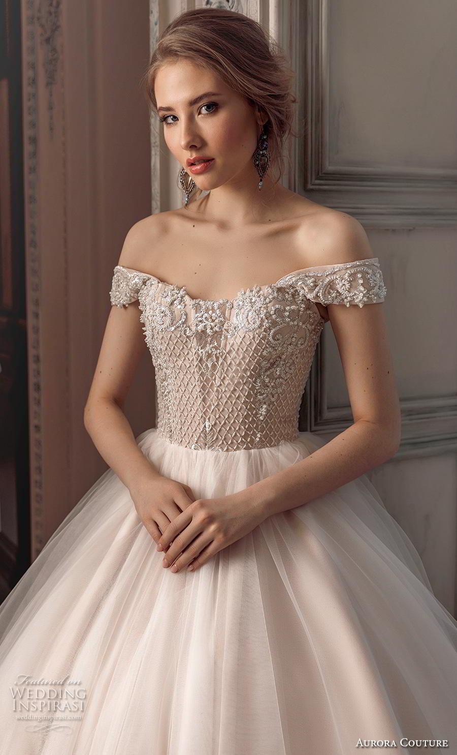 aurora couture 2019 bridal off the shoulder sweetheart neckline heavily embellished bodice romantic a  line wedding dress mid back chapel train (4) zv
