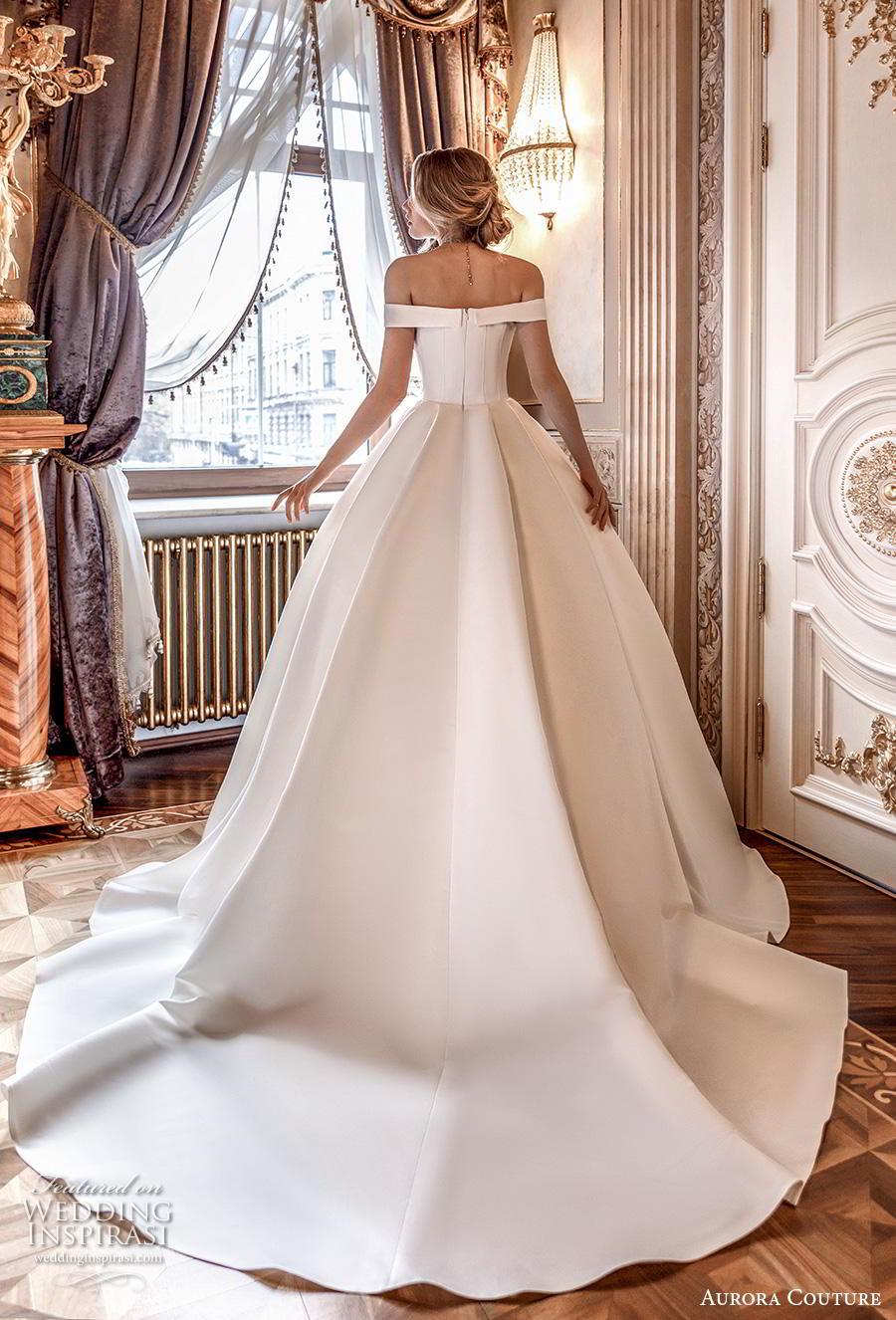 aurora couture 2019 bridal off the shoulder sweetheart neckline simple minimalist elegant ball gown a  line wedding dress chapel train (2) bv