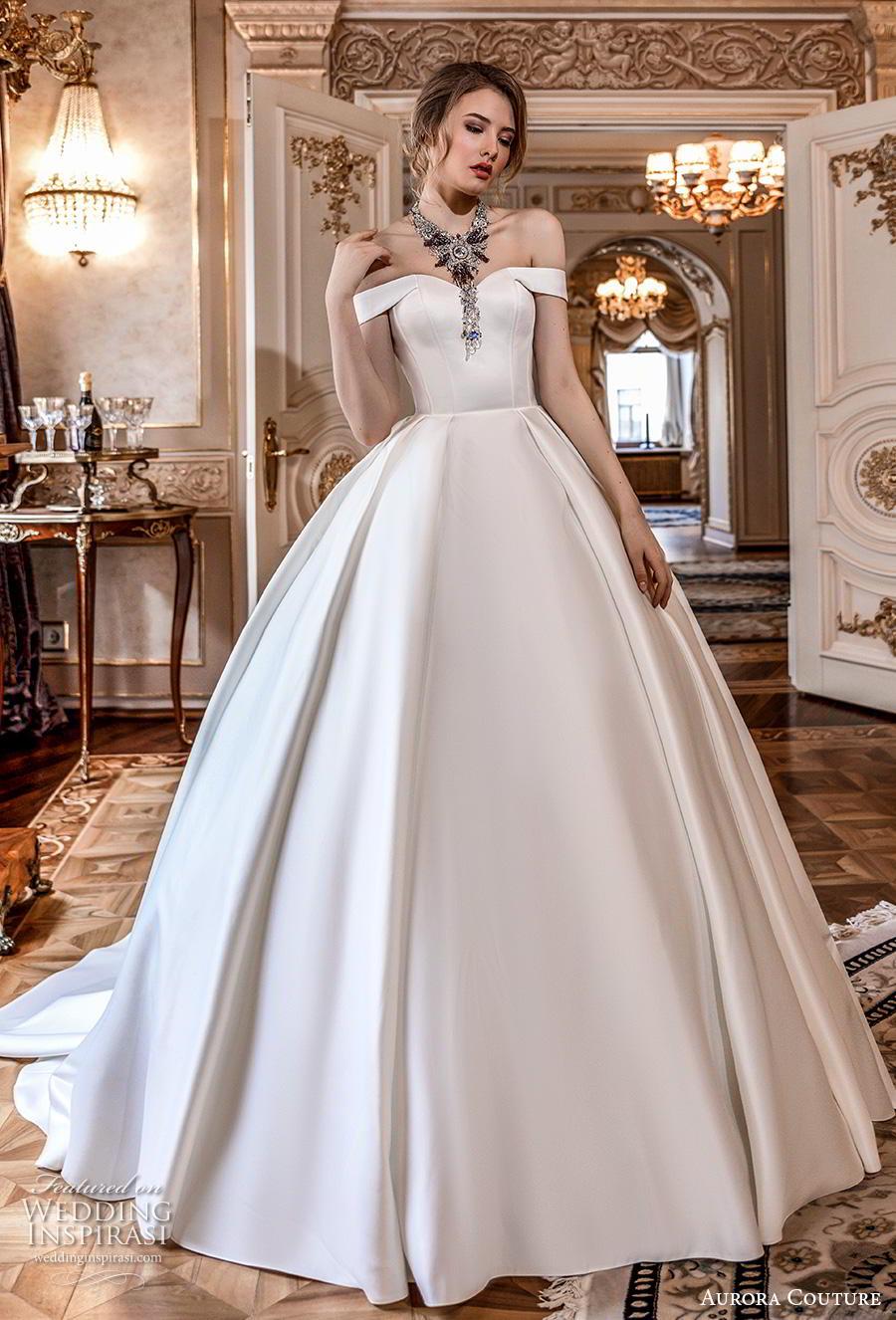 aurora couture 2019 bridal off the shoulder sweetheart neckline simple minimalist elegant ball gown a  line wedding dress chapel train (2) mv
