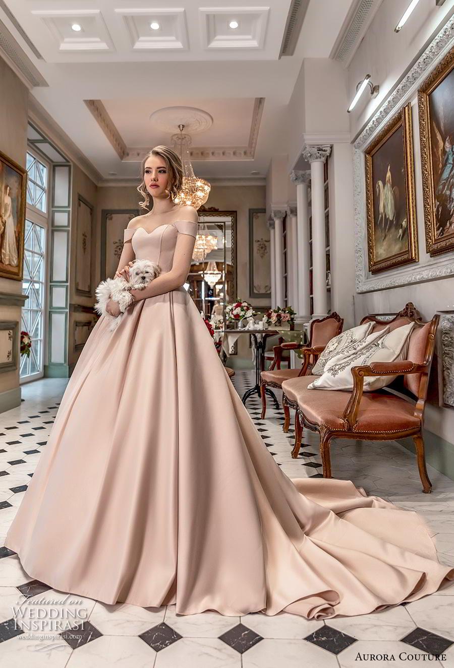 aurora couture 2019 bridal off the shoulder sweetheart neckline simple minimalsit princess ball gown a  line wedding dress chapel train (19) mv