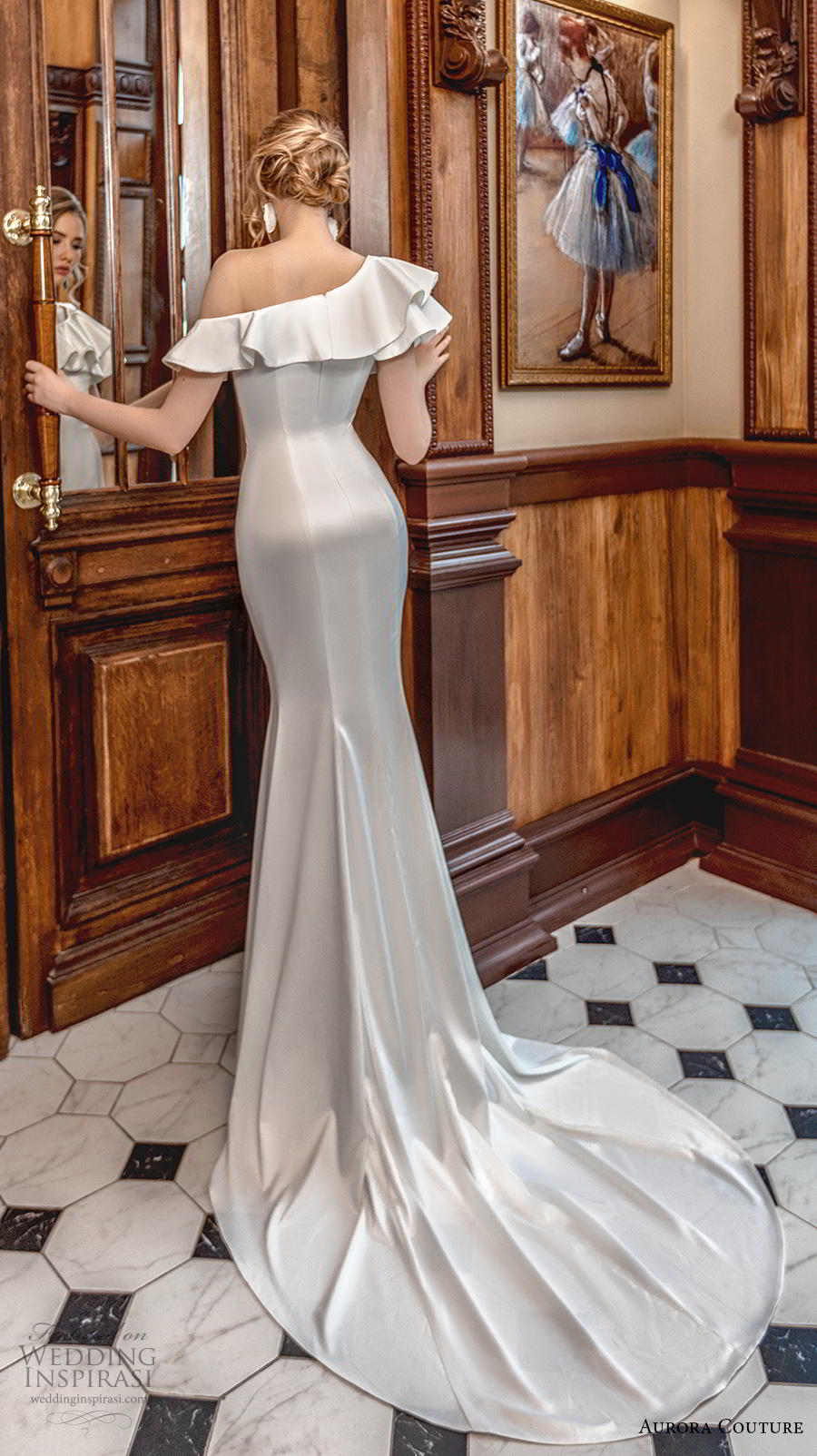 aurora couture 2019 bridal one shoulder flap neckline simple minimalist elegant fit and flare sheath wedding dress chapel train (16) bv