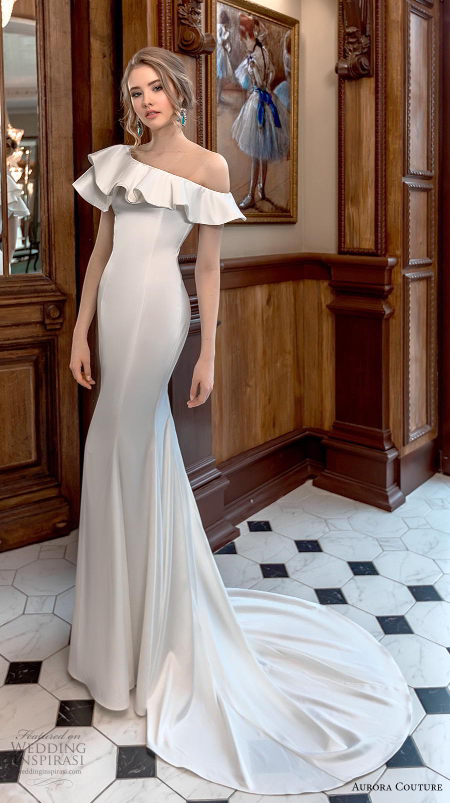 aurora couture 2019 bridal one shoulder flap neckline simple minimalist elegant fit and flare sheath wedding dress chapel train (16) mv