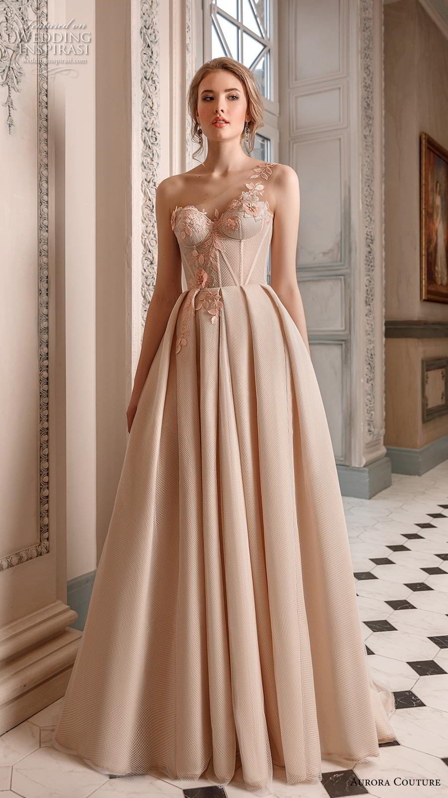 aurora couture 2019 bridal one shoulder sweetheart neckline lightly embellished bodice bustier simple a  line wedding dress sweep train (6) mv
