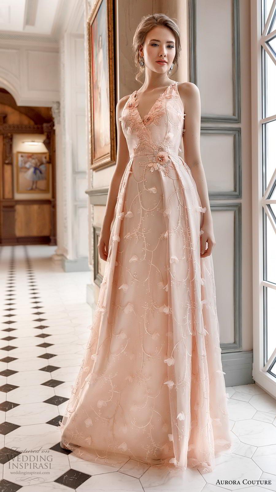 aurora couture 2019 bridal sleeveless v neck full embellishment romantic blush a  line wedding dress (10) mv