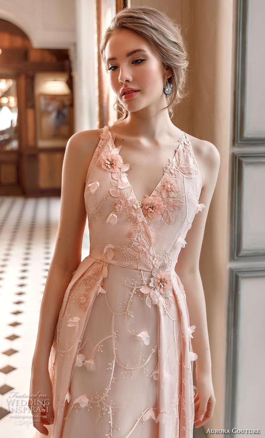 aurora couture 2019 bridal sleeveless v neck full embellishment romantic blush a  line wedding dress (10) zv