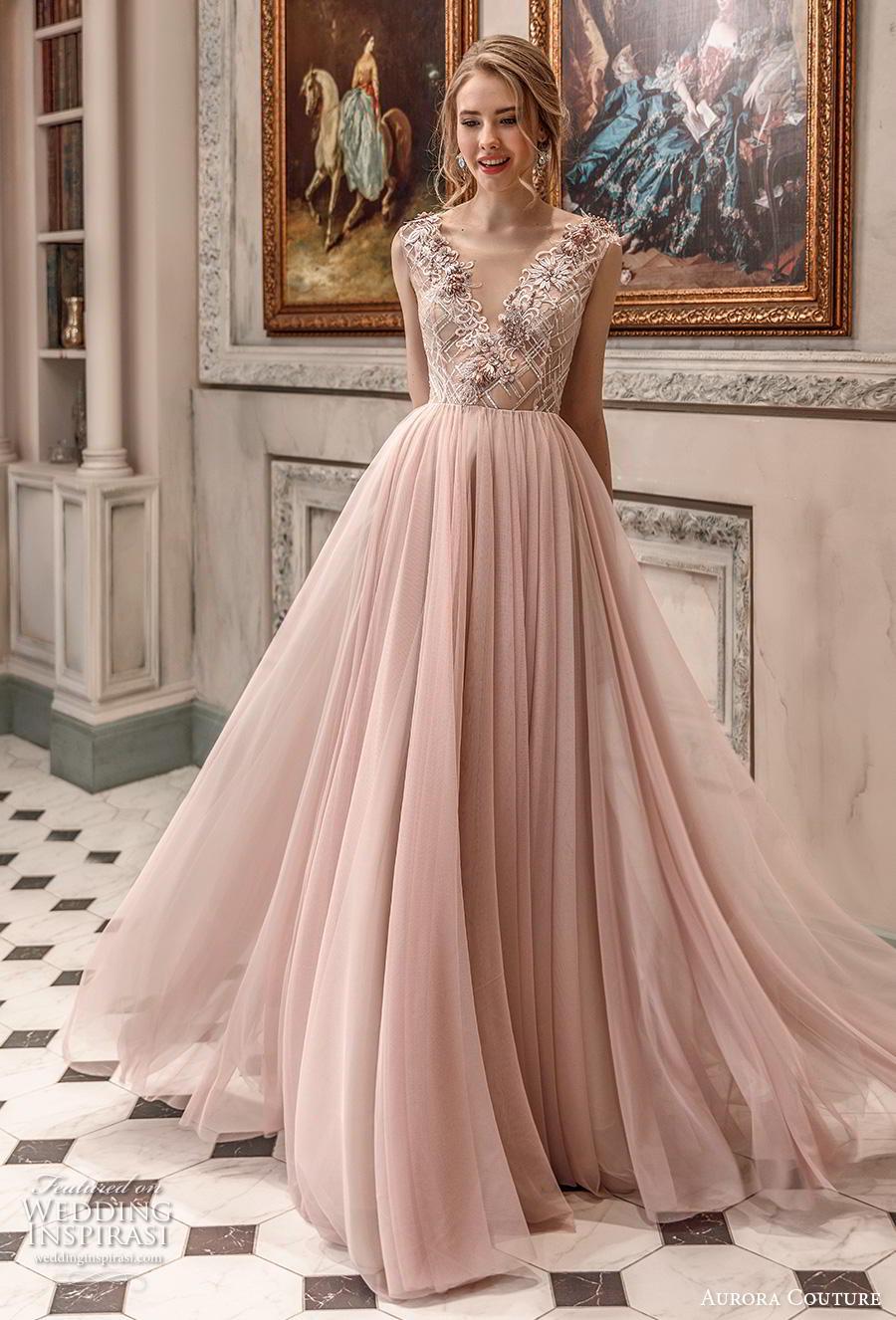 aurora couture 2019 bridal sleeveless v neck heavily embellished bodice romantic blush soft a  line wedding dress sweep train (11) mv