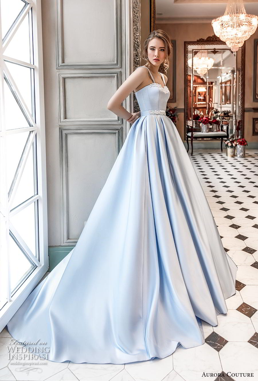 aurora couture 2019 bridal sleeveless with strap sweetheart neckline lightly embellished bodice simple romantic princess blue a  line wedding dress chapel train (18) mv