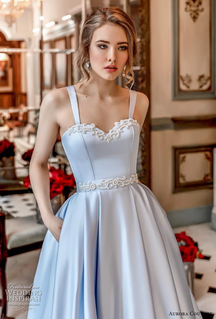 aurora couture 2019 bridal sleeveless with strap sweetheart neckline lightly embellished bodice simple romantic princess blue a  line wedding dress chapel train (18) zv