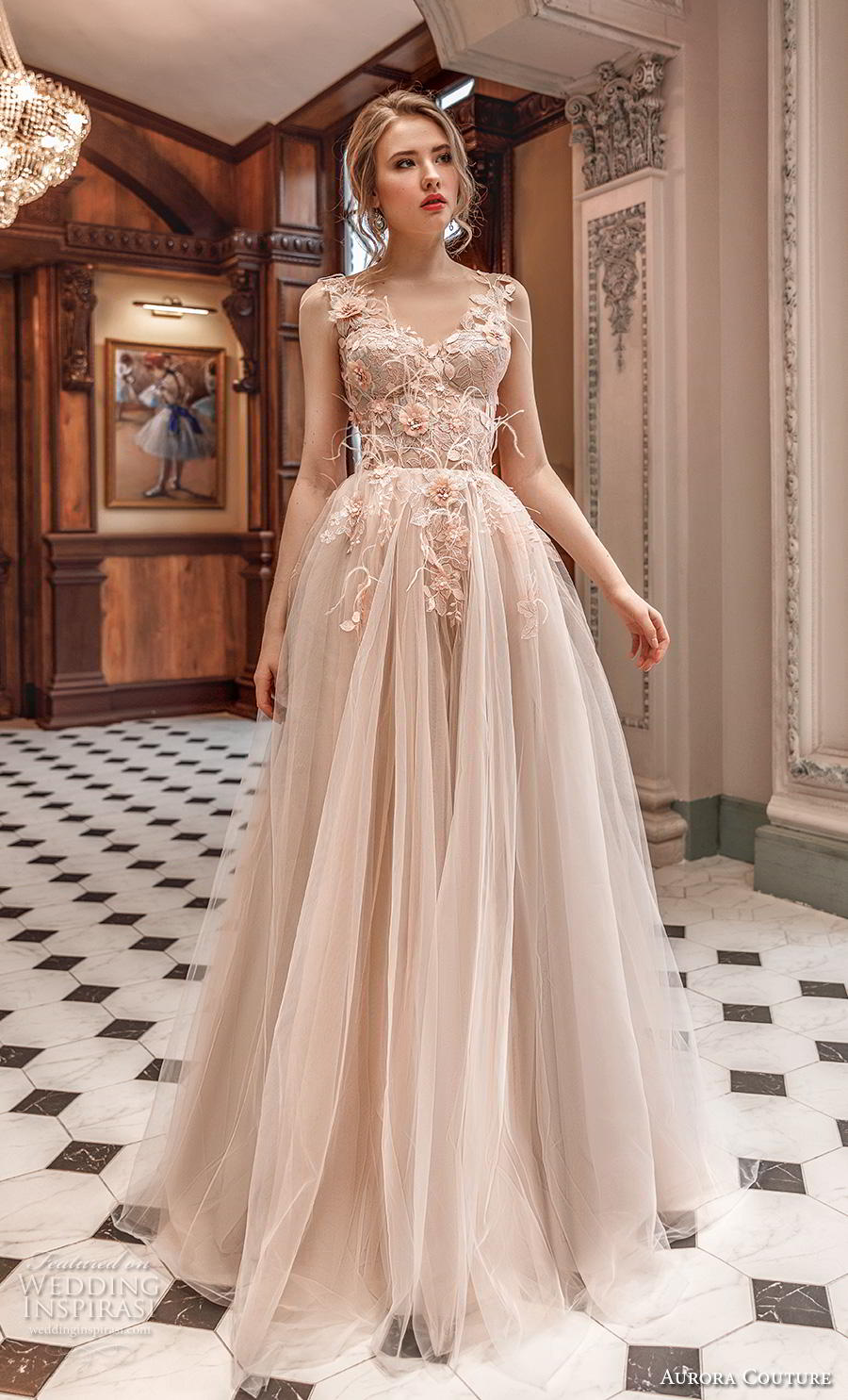 aurora couture 2019 bridal sleeveless with strap v neck heavily embellished bodice bustier tulle skirt romantic blush ball gown a  line wedding dress (13) mv