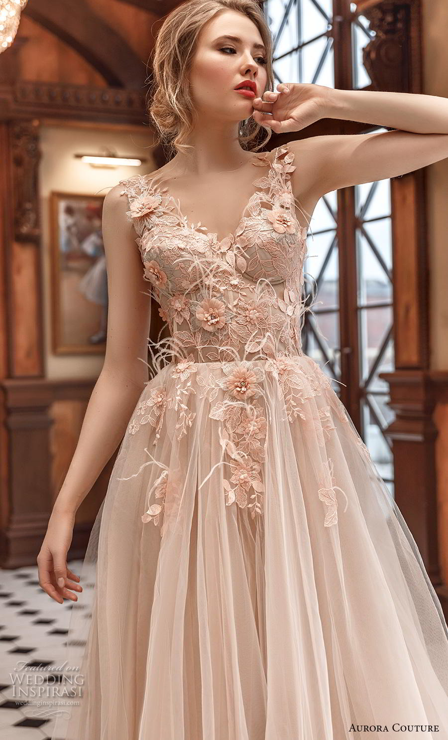 aurora couture 2019 bridal sleeveless with strap v neck heavily embellished bodice bustier tulle skirt romantic blush ball gown a  line wedding dress (13) zv