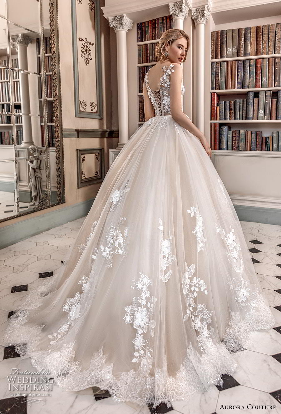 aurora couture 2019 bridal sleeveless with strap v neck heavily embellished bodice romantic ball gown a  line wedding dress corset back chapel train (12) bv