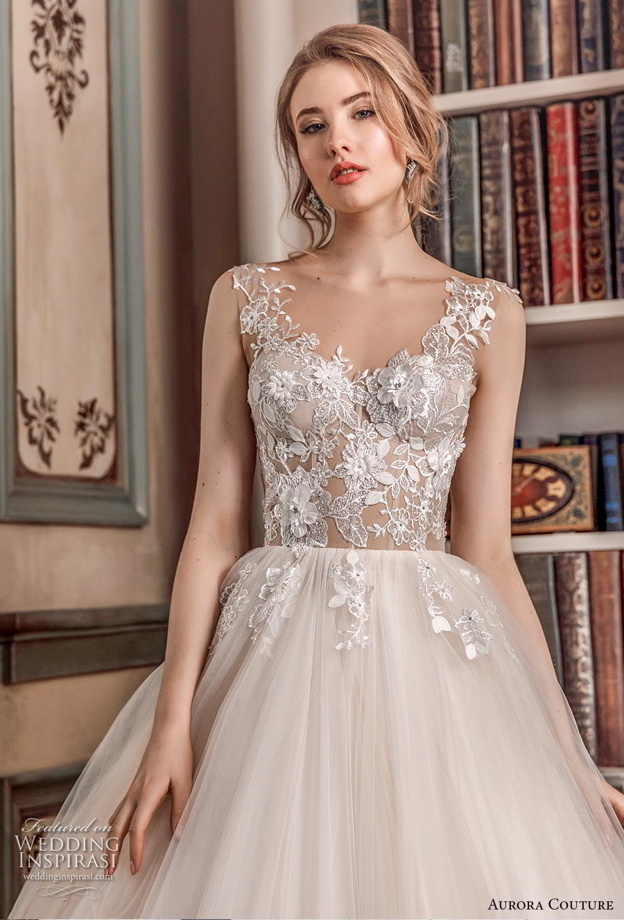aurora couture 2019 bridal sleeveless with strap v neck heavily embellished bodice romantic ball gown a  line wedding dress corset back chapel train (12) zv
