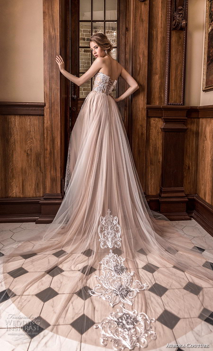aurora couture 2019 bridal strapless deep plunging sweetheart neckline heavily embellished bodice romantic a  line wedding dress mid back chapel train (7) bv