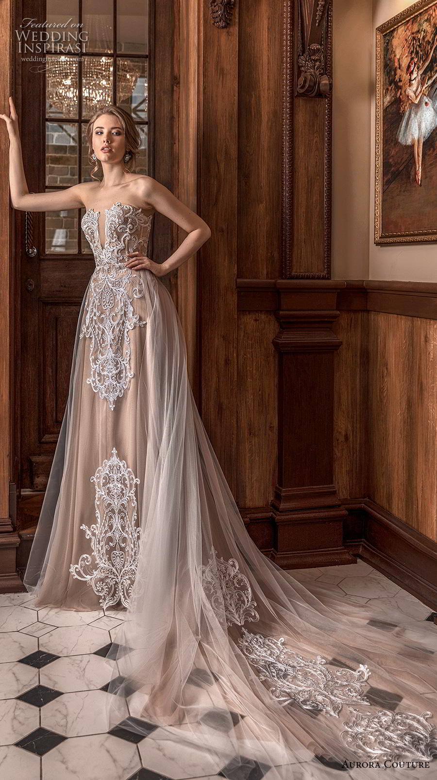 aurora couture 2019 bridal strapless deep plunging sweetheart neckline heavily embellished bodice romantic a  line wedding dress mid back chapel train (7) mv