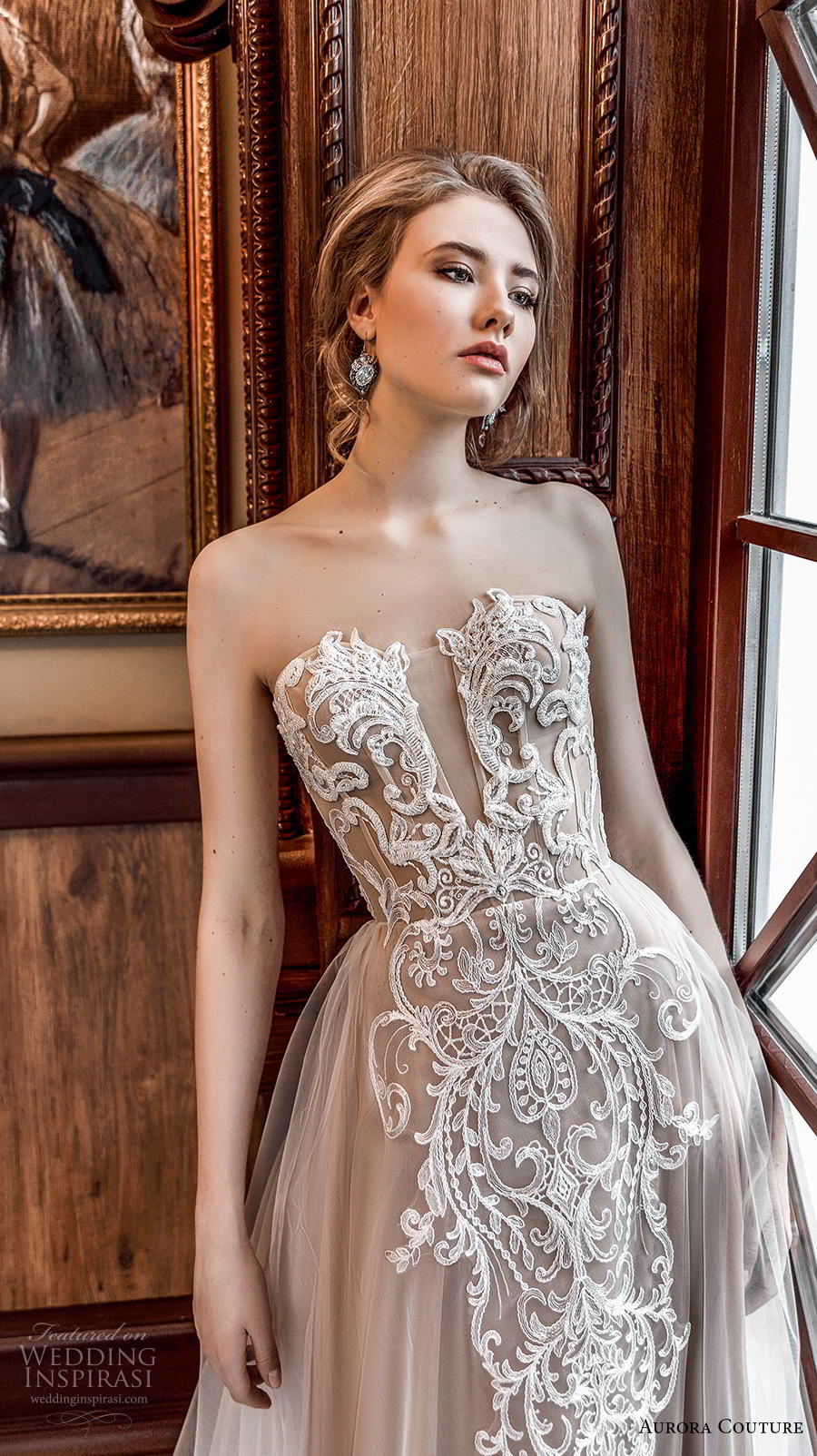aurora couture 2019 bridal strapless deep plunging sweetheart neckline heavily embellished bodice romantic a  line wedding dress mid back chapel train (7) zv