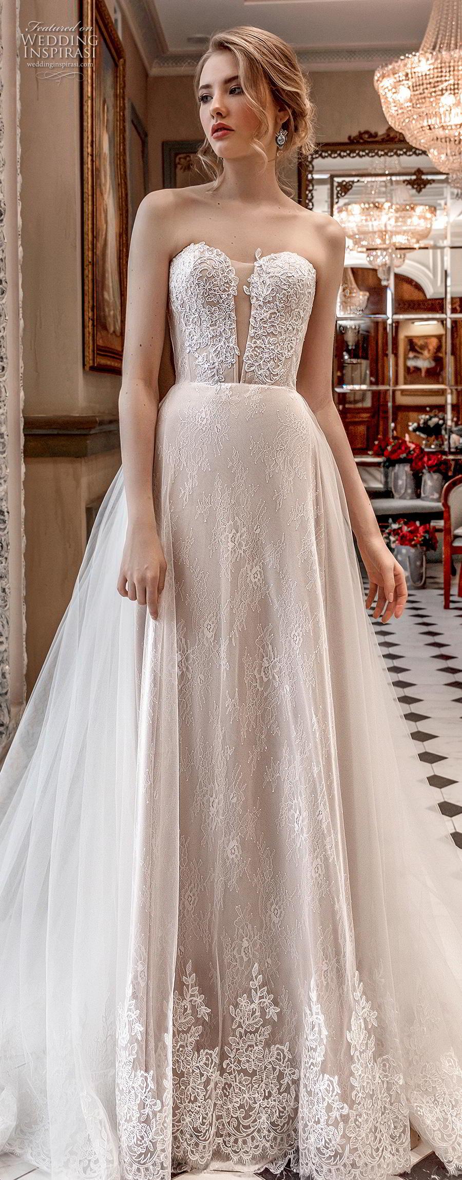 aurora couture 2019 bridal strapless sweetheart neckline heavily embellished bodice elegant a  line wedding dress chapel train (14) lv